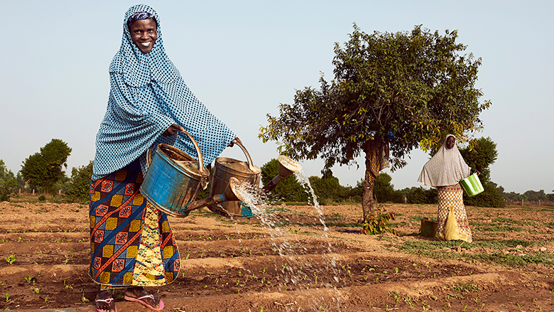 Women in Niger watering their farm.