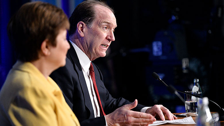World Bank Group President David Malpass and IMF Managing Director Kristalina Georgieva hold a press conference to address the economic challenges posed by the COVID-19 virus. Photo: © World Bank